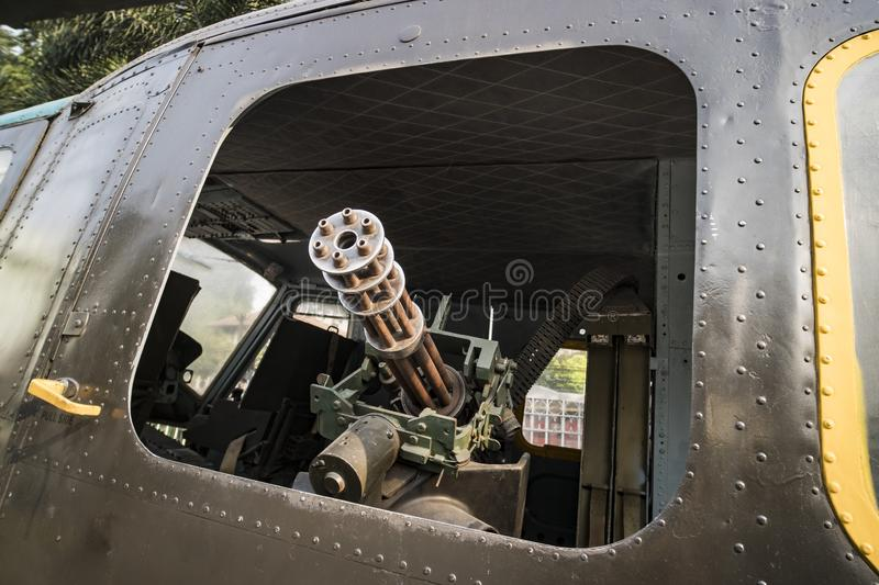 The M134 Minigun mounted inside a Huey helicopter at the War Remnants Museum in Ho Chi Minh City Vietnam Asia stock photos