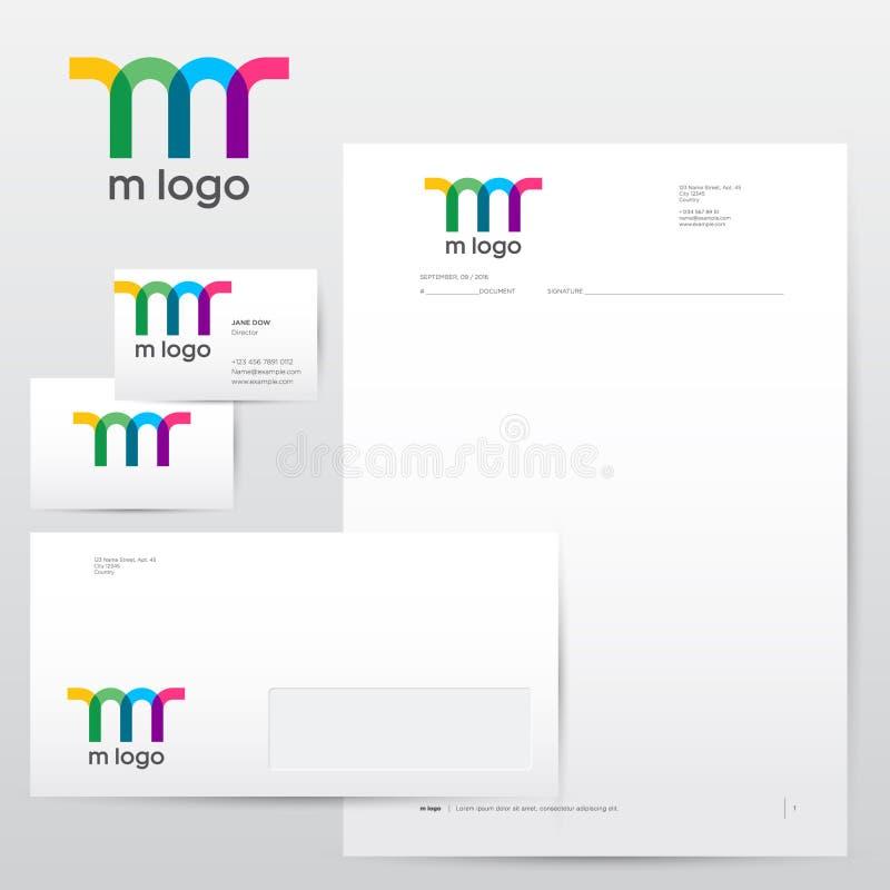 M monogram Kolorowy przejrzysty M logo, tożsamość i tożsamość ilustracji