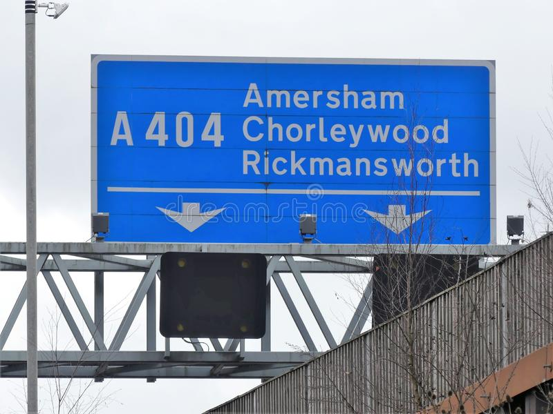 M25 Motorway exit sign at Junction 18 for Amersham, Chorleywood and Rickmansworth royalty free stock photography