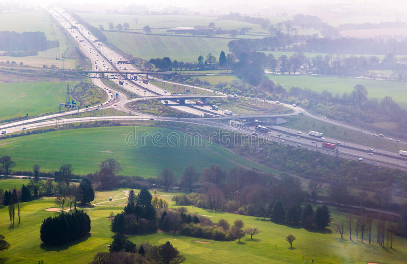 M1 motorway junction exit to Luton Airport aerial view stock images