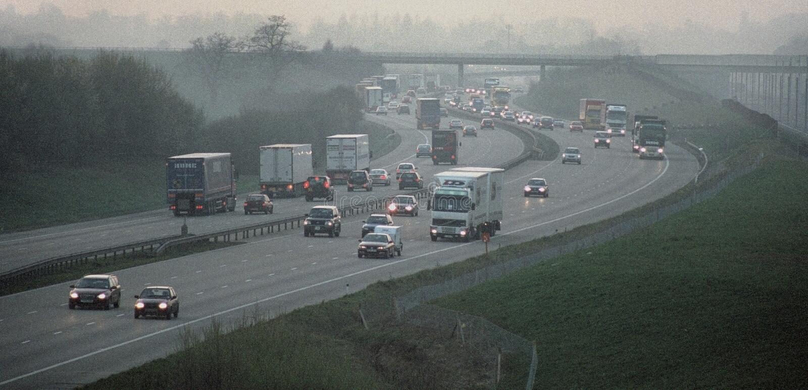 M20 motorway Kent England UK. UK Kent -- 03/2002 -- Heavy traffic on the M20 near Maidstone in Kent -- Picture by Jonathan Mitchell royalty free stock photography
