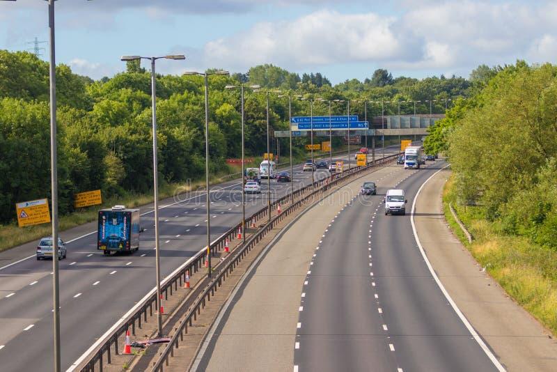 M-motorway nära West Bromwich, Birmingham, UK fotografering för bildbyråer