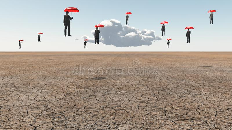M?n med r?da paraplyer stock illustrationer