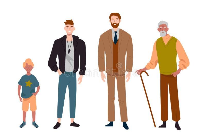 M?n olika ?ldrar Barn, tonåring, vuxen människa och äldre person Utveckling av folk, familj, manlig linje vektor illustrationer