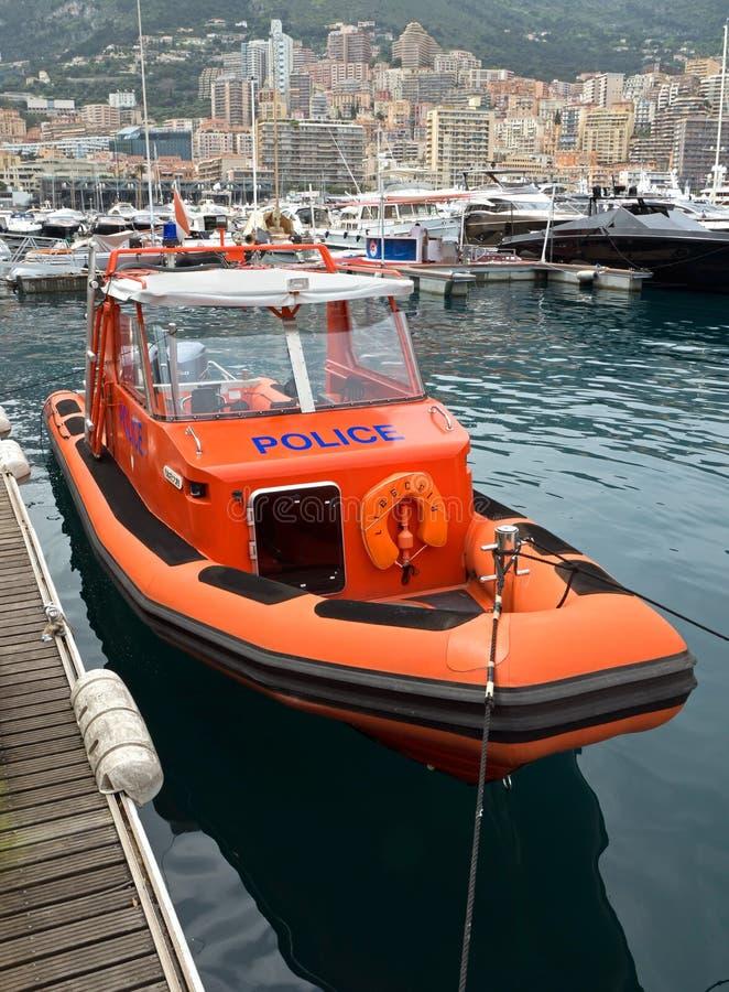 Mônaco - barco a motor da polícia imagem de stock royalty free