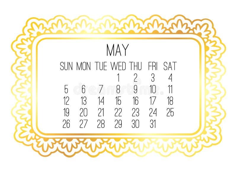 M?natlig guld- kalender f?r Maj ?r 2019 vektor illustrationer