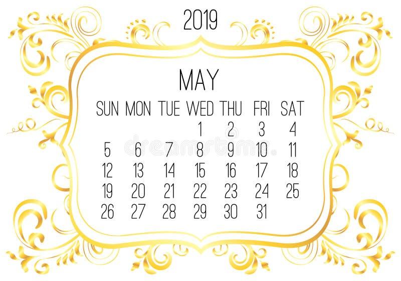 M?natlig guld- kalender f?r Maj ?r 2019 stock illustrationer