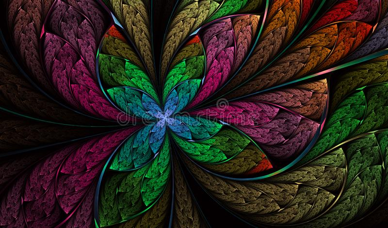 M?ngf?rgad symmetrisk fj?ril i m?lat glassstil stock illustrationer