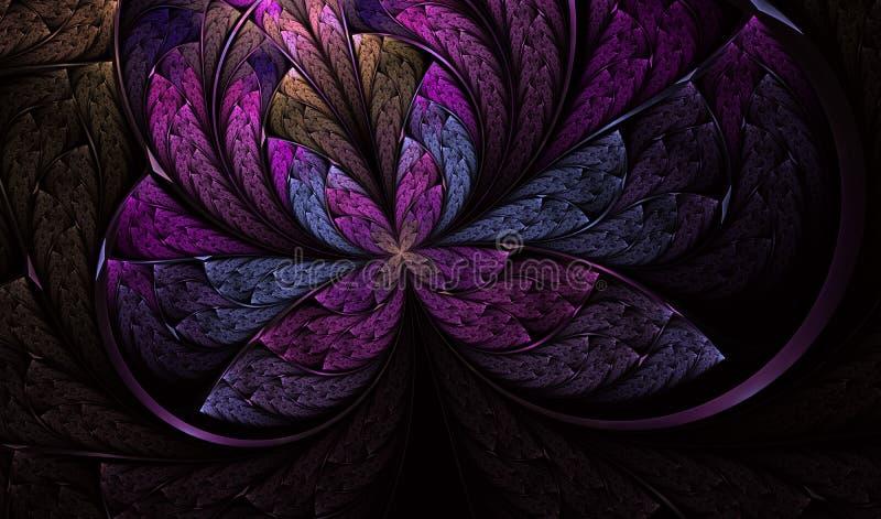 M?ngf?rgad symmetrisk fj?ril i m?lat glassstil royaltyfri illustrationer