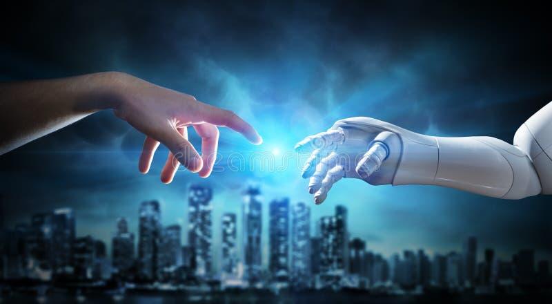 M?nniska och robotic hand som trycker p? fingrar arkivbild