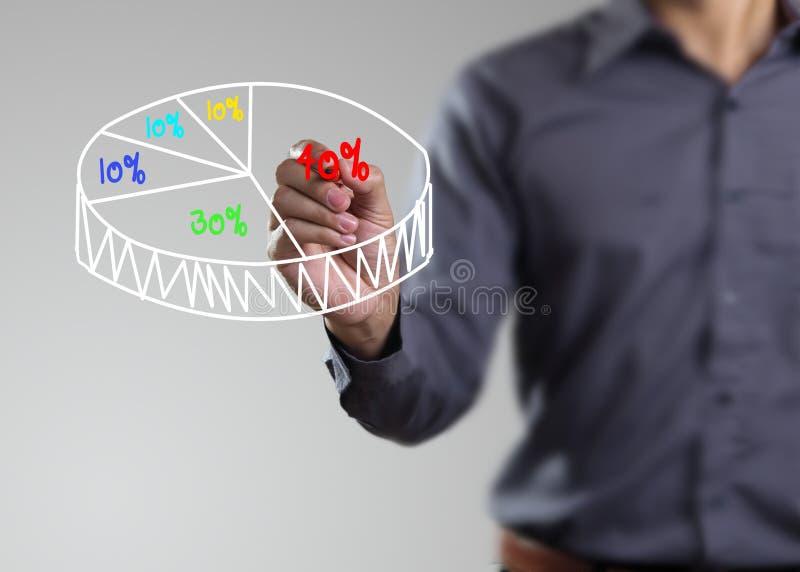 M?nnliche Hand, die ein Diagramm zeichnet stockbilder