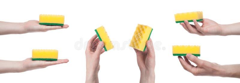 M?nnliche Hand, die einen gelben Reinigungsschwamm lokalisiert auf einem wei?en Hintergrund h?lt Geisterbilder collage lizenzfreie stockfotografie