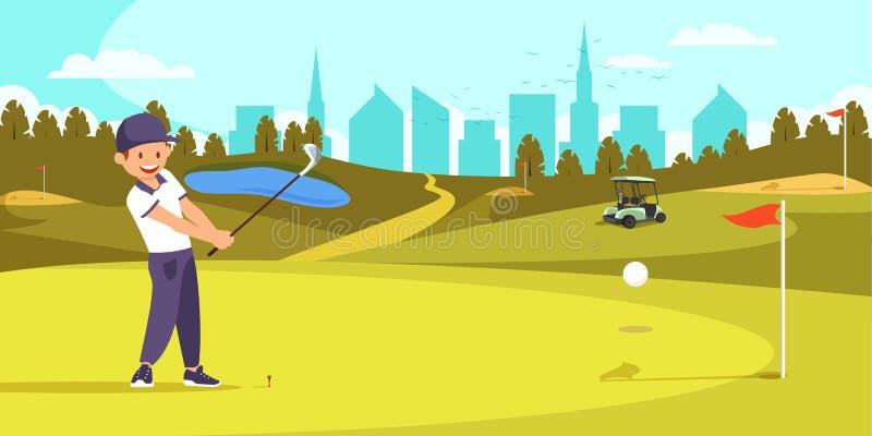 M?nnlicher Golfspieler, der das T-St?ck geschossen auf Golfplatz ausrichtet vektor abbildung