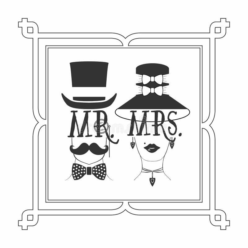 M. noir de silhouette Mâle et Mme Cadre de tableau femelle d'icônes illustration de vecteur