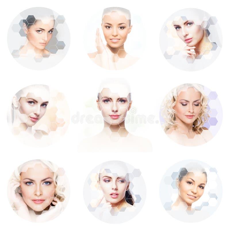 M?nsklig framsida i en collage Ung och sund kvinna i f?r lyftabegrepp f?r plastikkirurgi, f?r medicin, f?r brunnsort och f?r fram royaltyfri foto