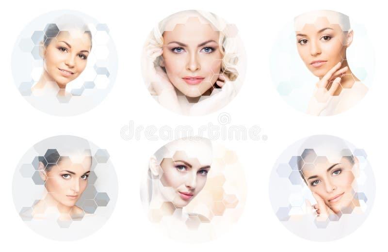 M?nsklig framsida i en collage Ung och sund kvinna i f?r lyftabegrepp f?r plastikkirurgi, f?r medicin, f?r brunnsort och f?r fram royaltyfria foton