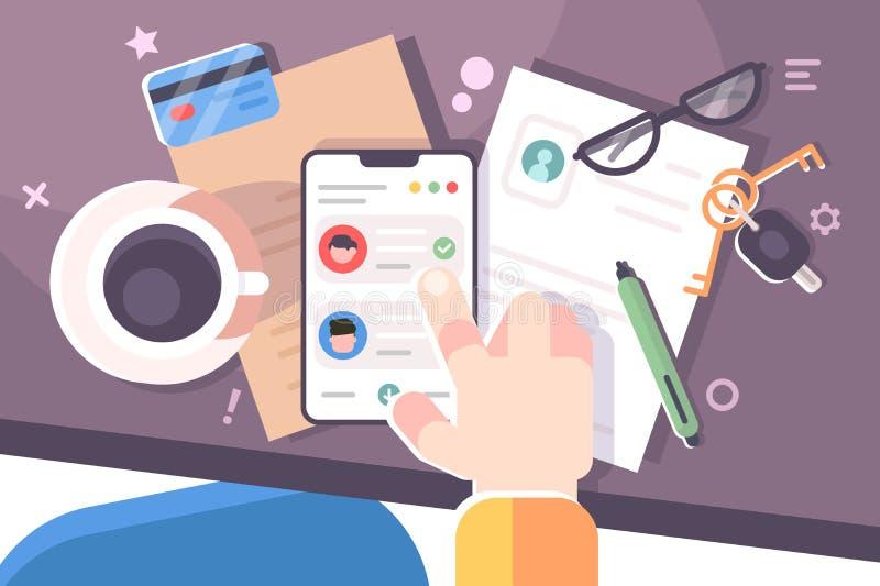 M?nsklig hand genom att anv?nda smartphonearbetsplatsskrivbordet royaltyfri illustrationer