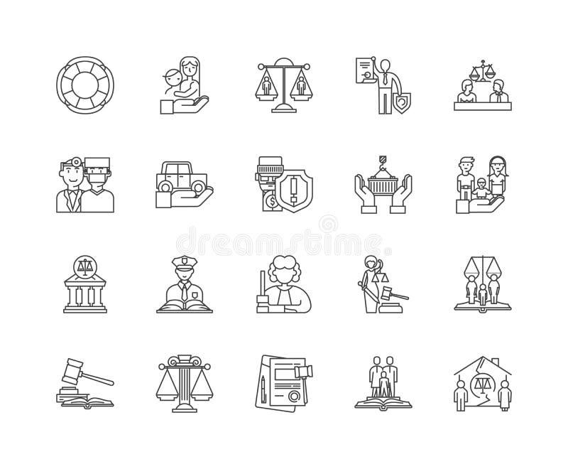 M?nsklig r?ttighetlinje symboler, tecken, vektorupps?ttning, ?versiktsillustrationbegrepp vektor illustrationer