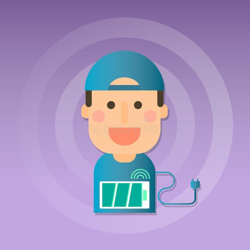m?nskligt tecken Man med batteriuppladdning stock illustrationer
