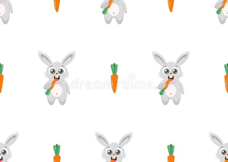 M?nstra kanin och mor?tter p? en vit bakgrund stock illustrationer