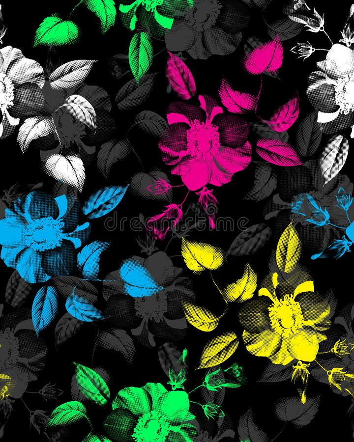 m?nstrad seamless tappning Kulöra blommaillustration- och vårblommor stock illustrationer