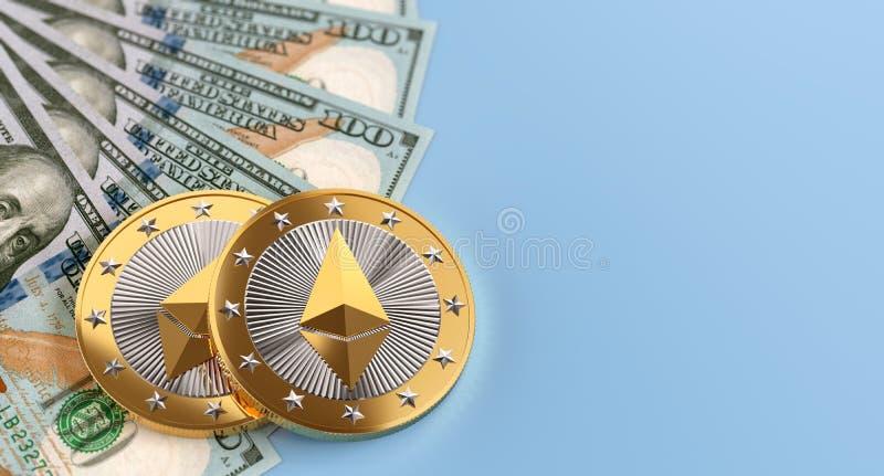 M?nzen- und Dollarscheine Ethereum stock abbildung