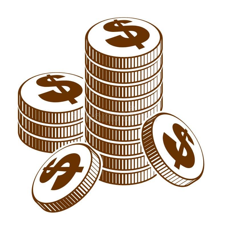 M?nzenstapelbargeld- oder -kasinochipstillleben, Vektorikone, Illustration oder Logo, Einkommen oder Steuerkonzept lizenzfreie abbildung