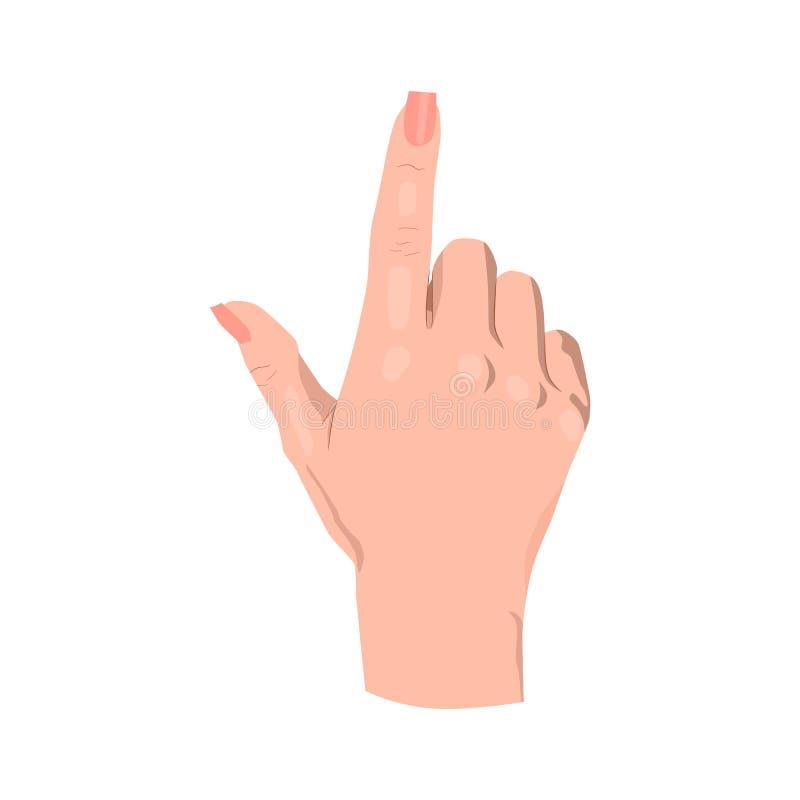 M?o com apontar ou tocar no dedo ilustração royalty free