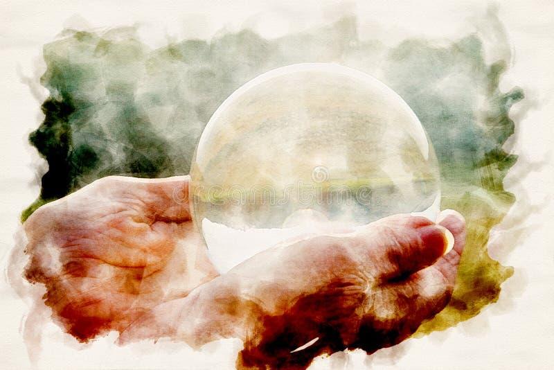 A m?o de mulher mais idosa que guarda uma esfera de vidro brilhante ilustração do vetor