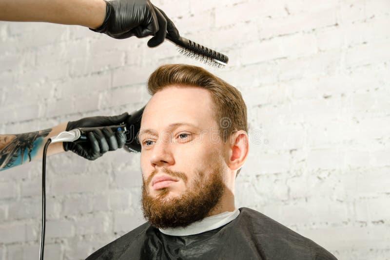 A m?o do barbeiro nas luvas cortou o cabelo e o homem farpado do gihger adulto das barbea??es em um fundo da parede de tijolo Ret fotografia de stock