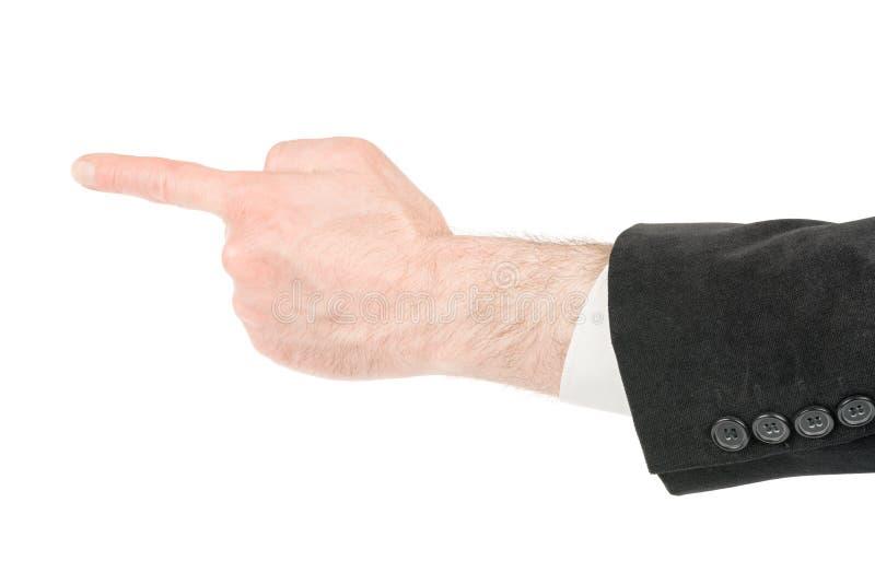 M?o do homem que faz apontar o gesto do dedo isolado com trajeto de grampeamento fotografia de stock