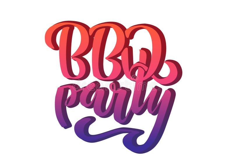 M?o do partido do BBQ que rotula o molde do projeto do vetor do logotipo Etiqueta tipogr?fica do texto do assado do inclina??o is ilustração stock