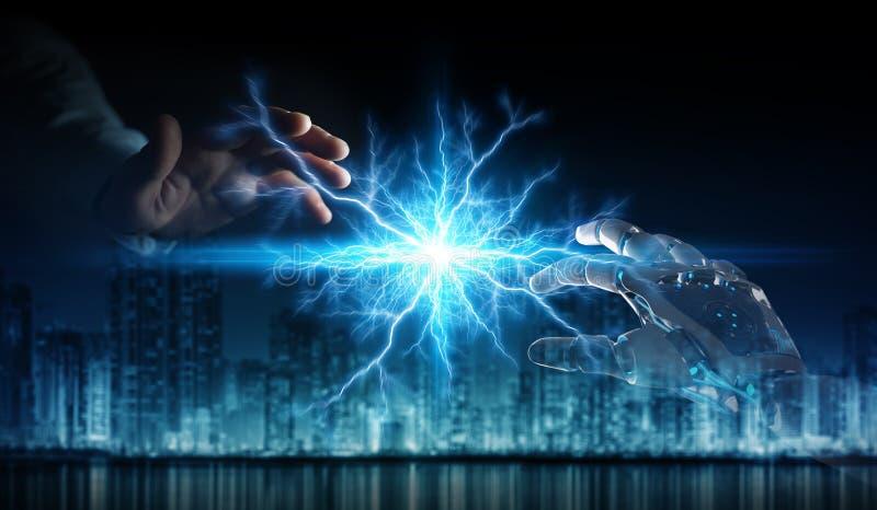 M?o do rob? que cria a eletricidade com a rendi??o humana da m?o 3D ilustração royalty free
