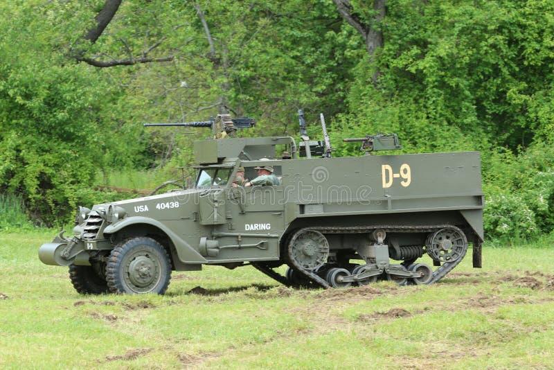 M3A1 o escuteiro Car do museu da armadura americana durante o acampamento da segunda guerra mundial fotos de stock royalty free