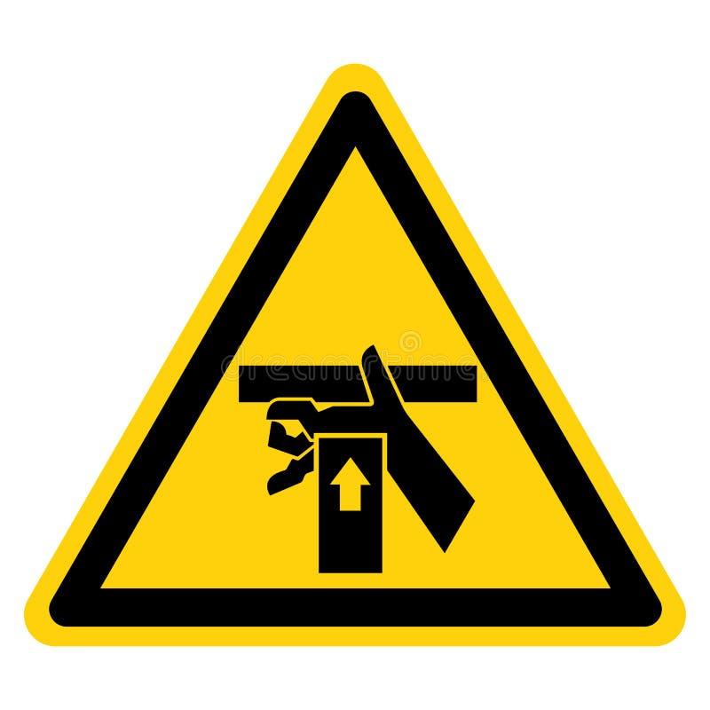 A m?o esmaga a for?a de baixo do sinal do s?mbolo, ilustra??o do vetor, isolado na etiqueta branca do fundo EPS10 ilustração do vetor
