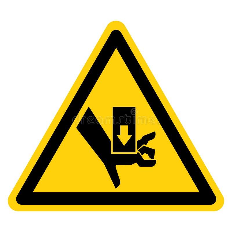 A m?o esmaga a for?a de cima do isolado do sinal do s?mbolo no fundo branco, ilustra??o do vetor ilustração do vetor