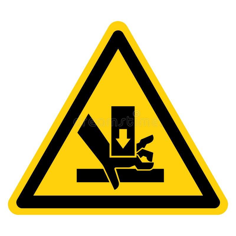A m?o esmaga a for?a de cima do sinal do s?mbolo, ilustra??o do vetor, isolado na etiqueta branca do fundo EPS10 ilustração do vetor