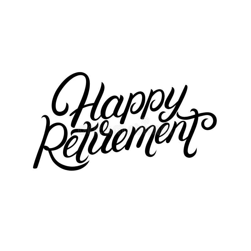 M?o feliz da aposentadoria escrita a rotula??o ilustração royalty free