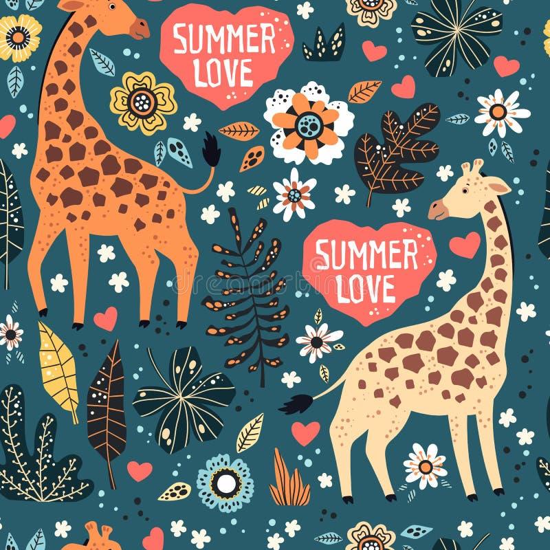 M?o lisa do vetor tirada Teste padr?o Girafas com plantas tropicais e flores ilustração royalty free
