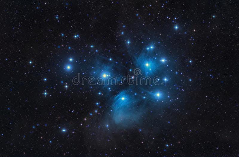 M45 o Pleiades sete irmãs abrem estrelas e espaço do conjunto fotos de stock