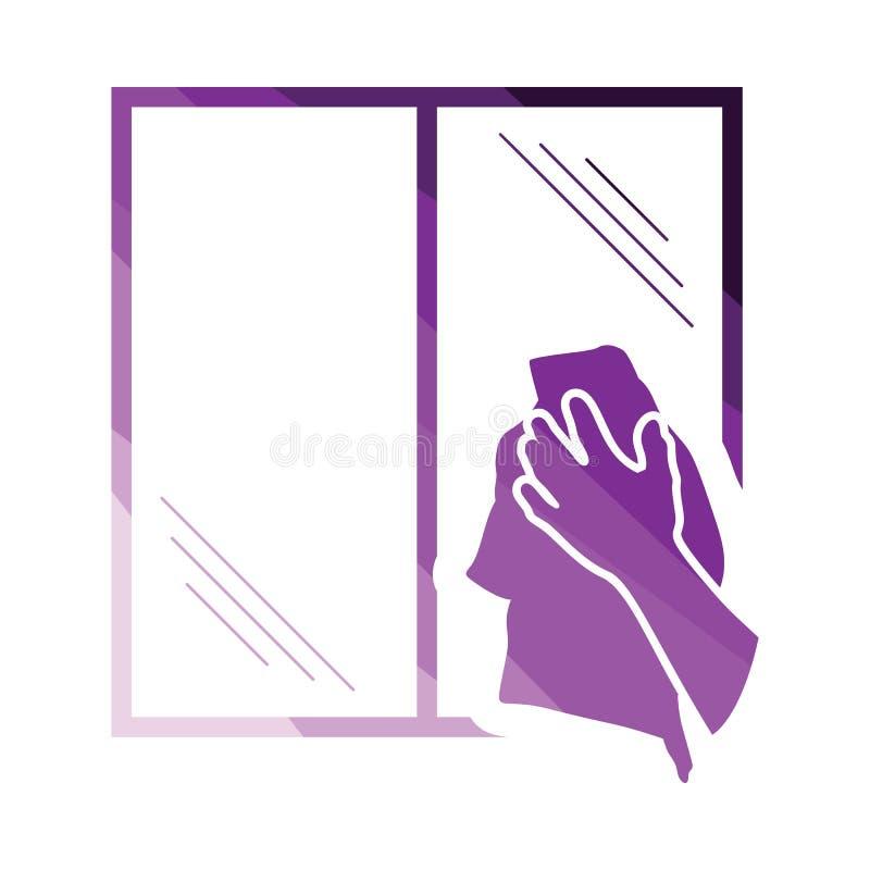 M?o que limpa o ?cone da janela ilustração stock