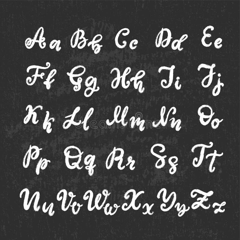 M?o tirada rotulando a fonte, alfabeto ilustração do vetor