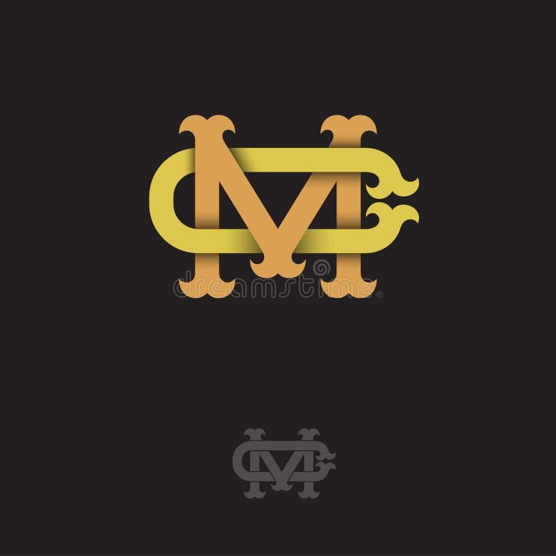 M- och c-monogram M och C korsade bokstäver, flätade samman bokstavsinitialer royaltyfri illustrationer