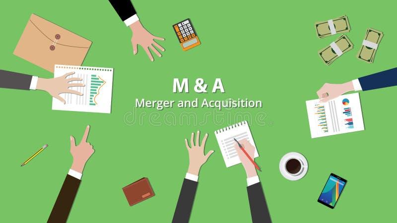 M och ett lag för illustration för sammanslagningförvärvbegrepp arbetar tillsammans på den samma tabellen med sikt från överkant royaltyfri illustrationer