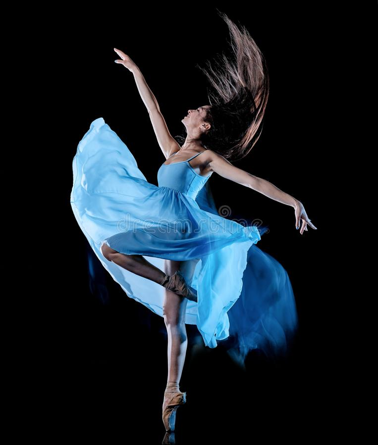 M?oda kobieta baletniczego tancerza t?a ?wiat?a taniec odizolowywaj?cy czarny obraz fotografia royalty free