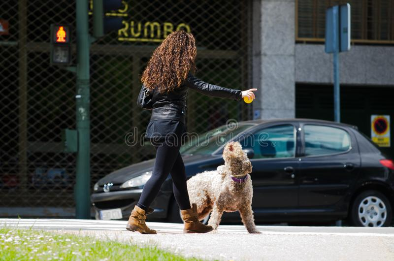 M?oda kobieta bawi? si? z jej psem obraz royalty free