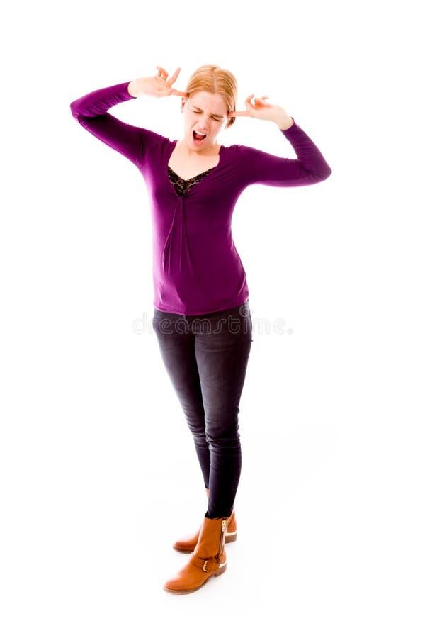 Download Młoda Kobieta Patrzeje Frustated Obraz Stock - Obraz złożonej z migreny, potomstwa: 41950013