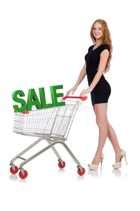 M?oda kobieta robi zakupy odizolowywaj?cemu na bielu zdjęcia royalty free
