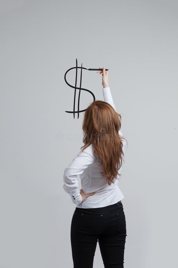 Download Młoda Kobieta Rysunkowy Dolarowy Symbol Obraz Stock - Obraz złożonej z znak, whiteboard: 57666675