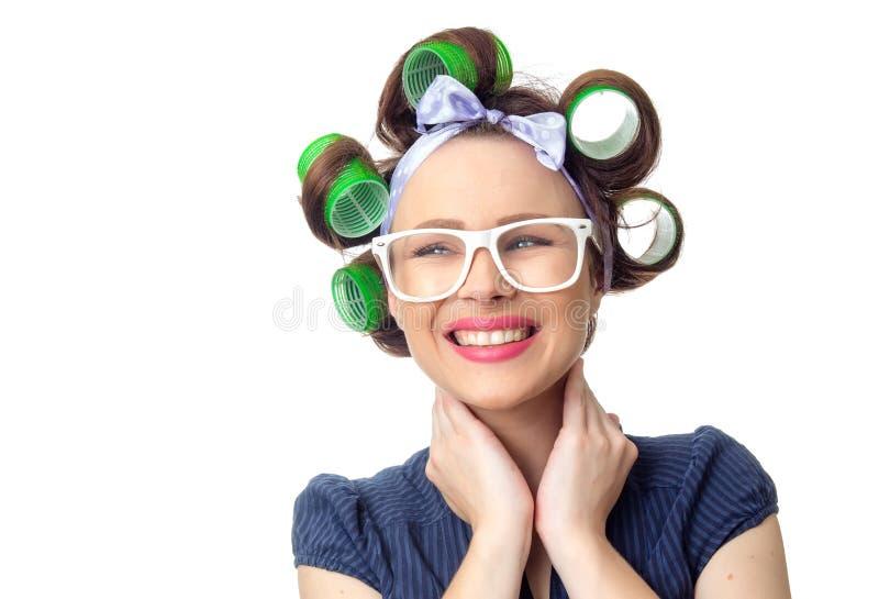 Download Młoda kobieta z curlers zdjęcie stock. Obraz złożonej z osoba - 53776864
